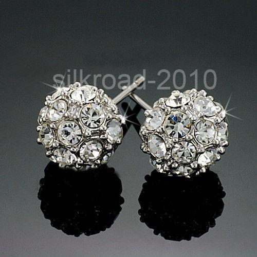 Cute 18K white ball Swarovski Crystal GP earrings BB9