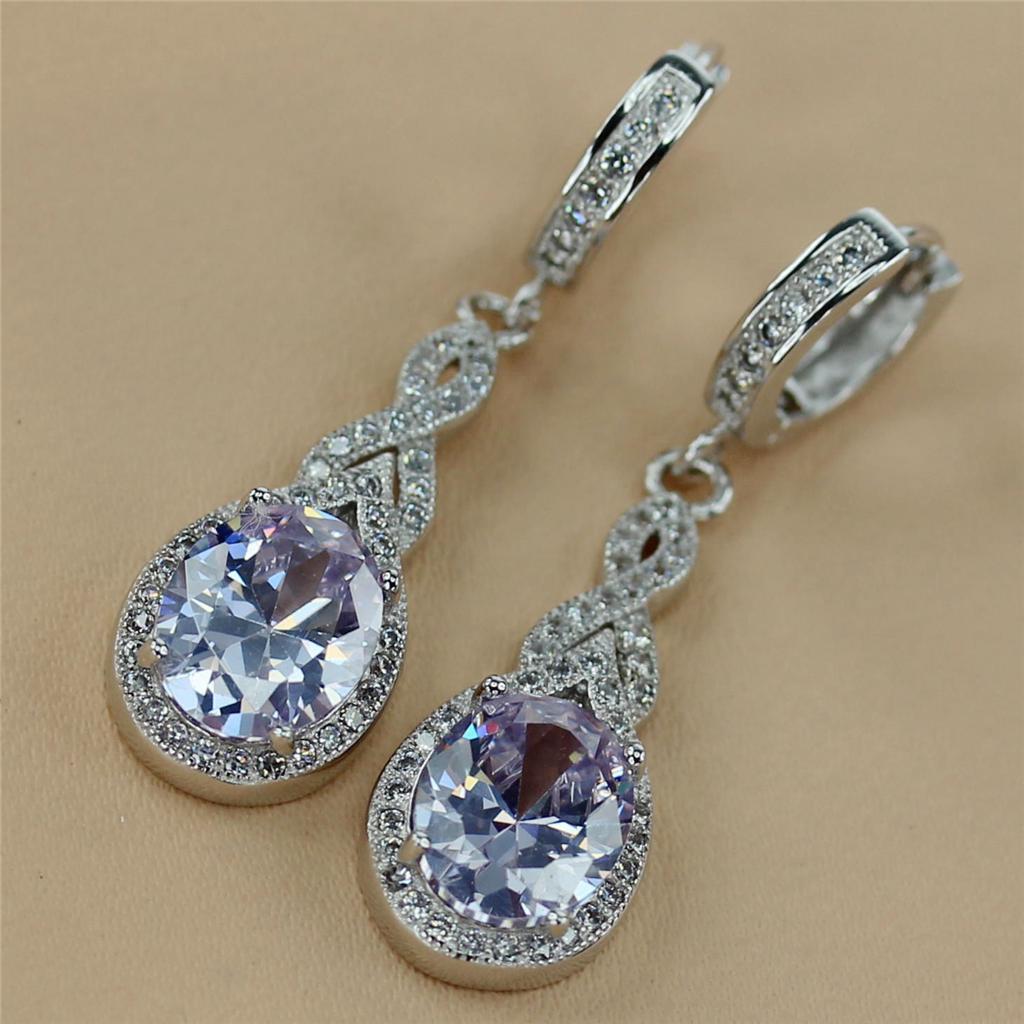 light purple gemstone fashion silver earring j3a153 ebay