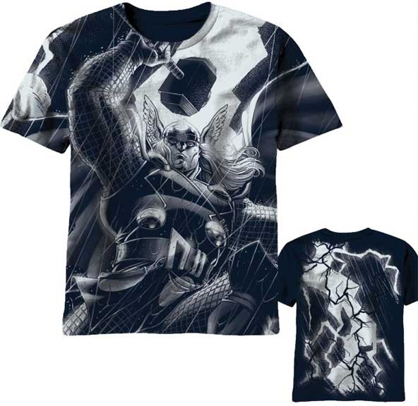 Thor wielding hammer in storm thronado 2 sided full print for Full size t shirt printing