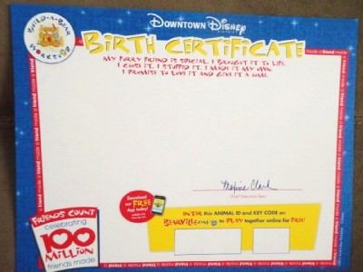 Build a bear downtown disney exclusive 1639 mickey dog dd birth certificate ebay for Build a bear birth certificates