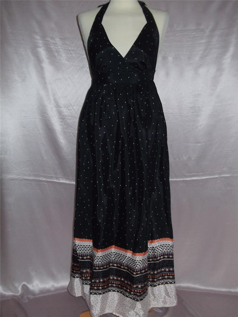KUSHI-Black-Silky-Halterneck-Summer-Maxi-Dress-UK-Size-12-D6
