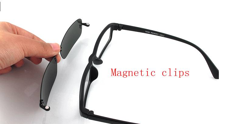 Eyeglass Frame With Magnetic Clip On Sunglasses : Mens Magnetic Polarized Clip on Eyeglasses Frames Eyeglass ...
