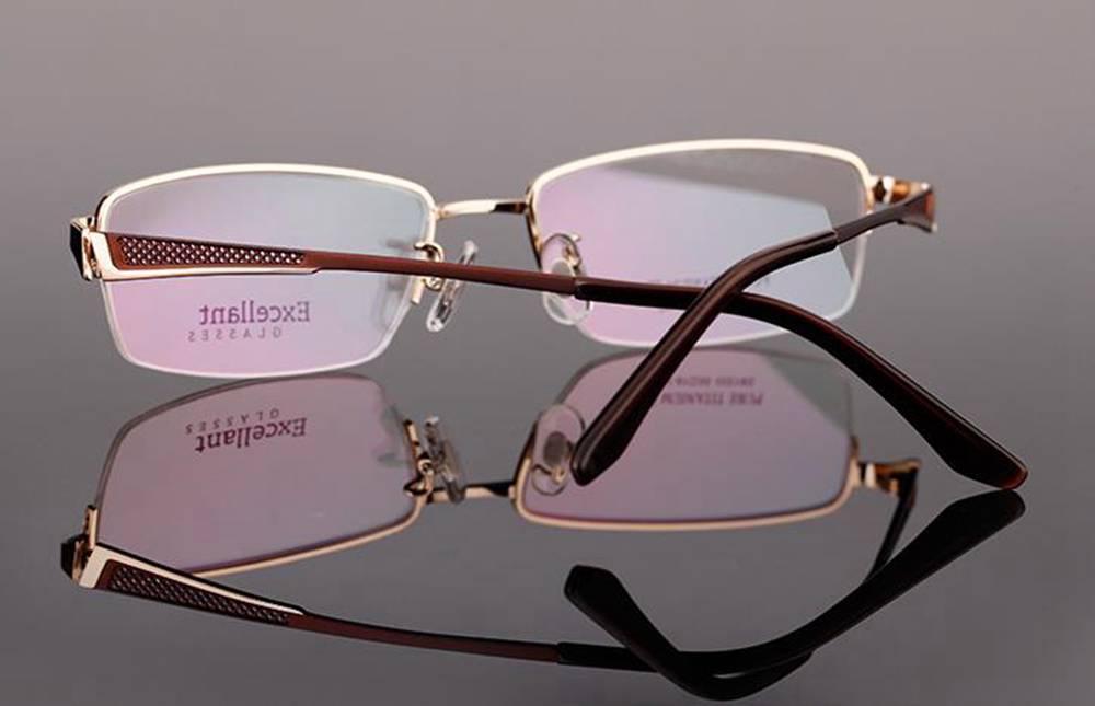 New Titanium Designer Mens Half Rimless Eyeglasses Frames ...