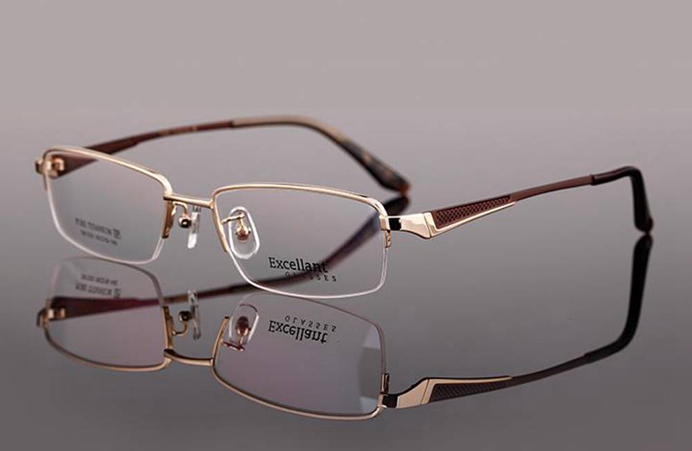 Unique Mens Eyeglass Frames : New Titanium Designer Mens Half Rimless Eyeglasses Frames ...