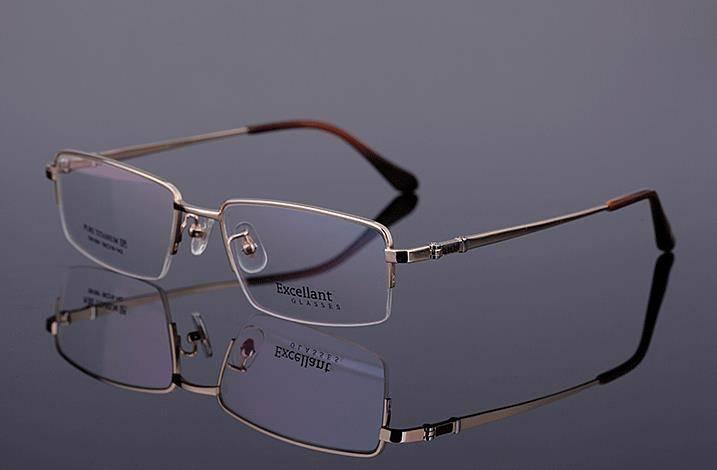 Eyeglasses Frames Luxury : 2015 Luxury Pure Titanium Mens Half Rimless Eyeglasses ...