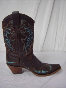 womens trendy brown teal fashion western boots