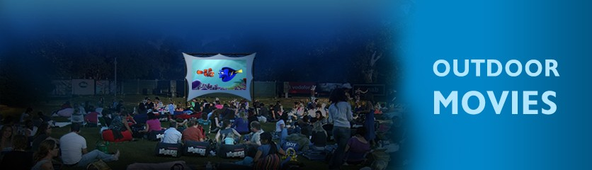 outdoor rear projection screen Turn your backyard into a home theater with the portable movie projection screen.