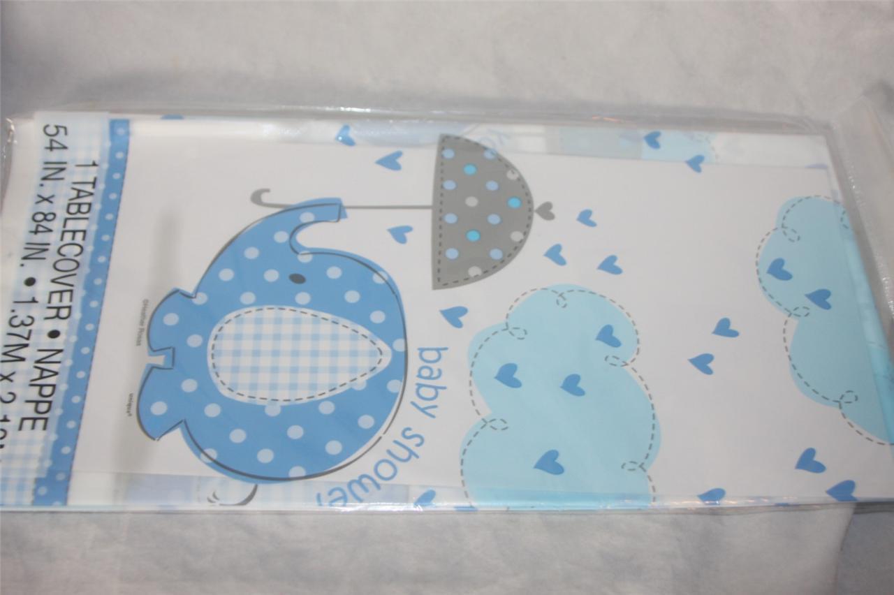 baby shower blue boy elephant holding umbrella plastic tablecloth