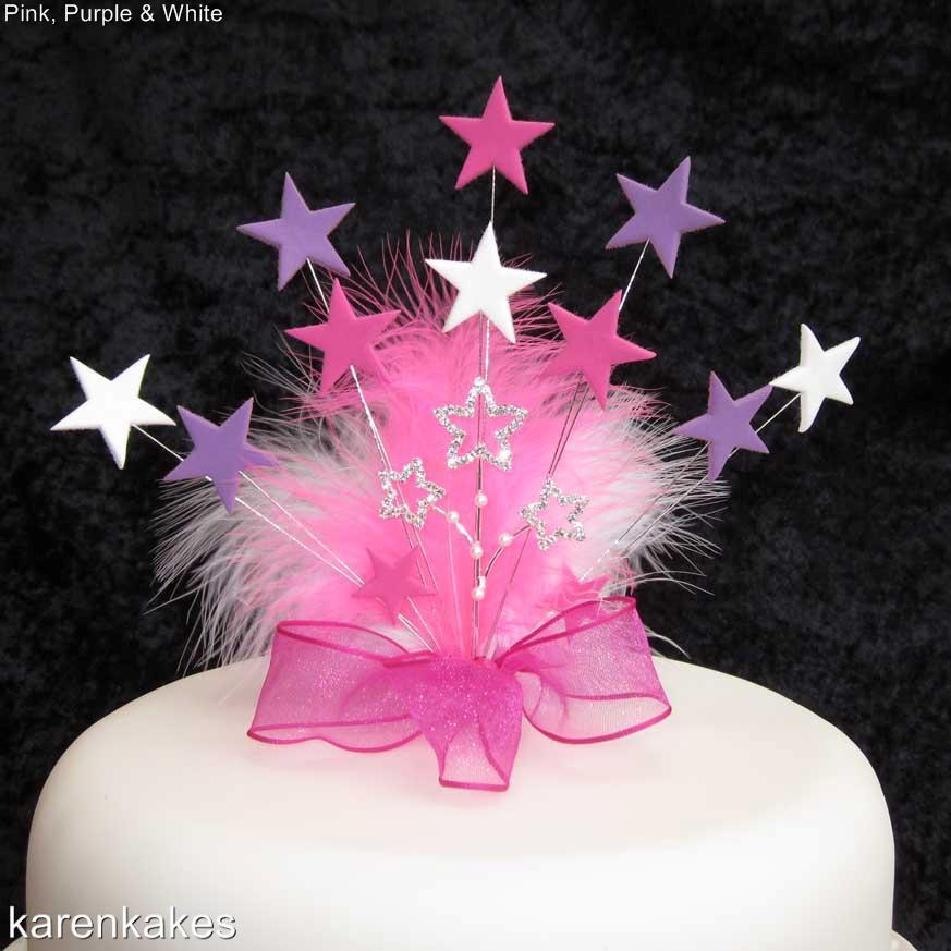 Diamante Feather  Cake Topper