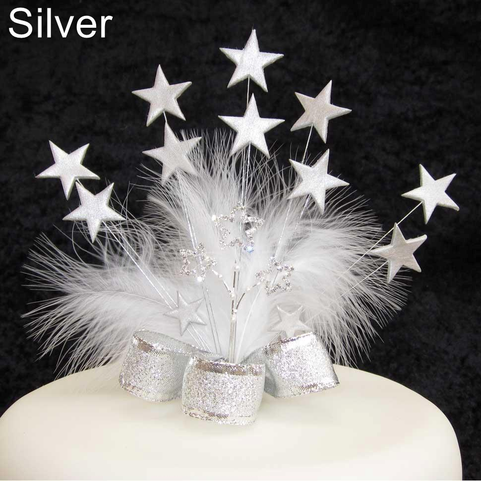 STAR CAKE TOPPER WITH DIAMANTE STAR AND FEATHERS | eBay