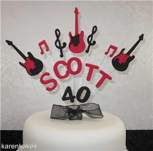 Birthday Cake Guitar Design With Name : HANDMADE GUITAR BIRTHDAY NAME & AGE CAKE TOPPER eBay