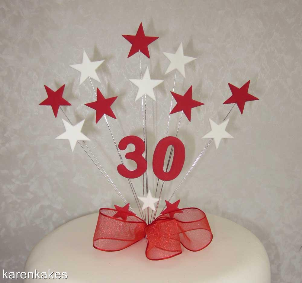 Cake Toppers For Birthday : RED & WHITE STAR BIRTHDAY CAKE TOPPER- ANY AGE 13th 16th ...