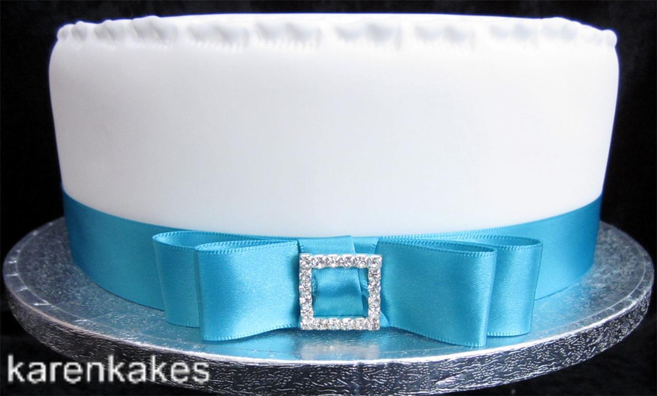 1xMETRE 25MM TURQUOISE SATIN RIBBON PLUS BOW & DIAMANTE BUCKLE CAKE DECORATION eBay
