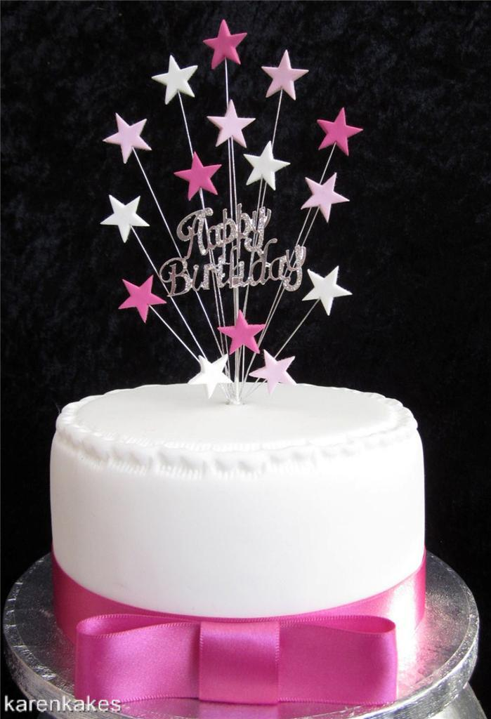 Cake Toppers For Birthday : DIAMANTE HAPPY BIRTHDAY CAKE TOPPER WITH STARS SUITABLE ...