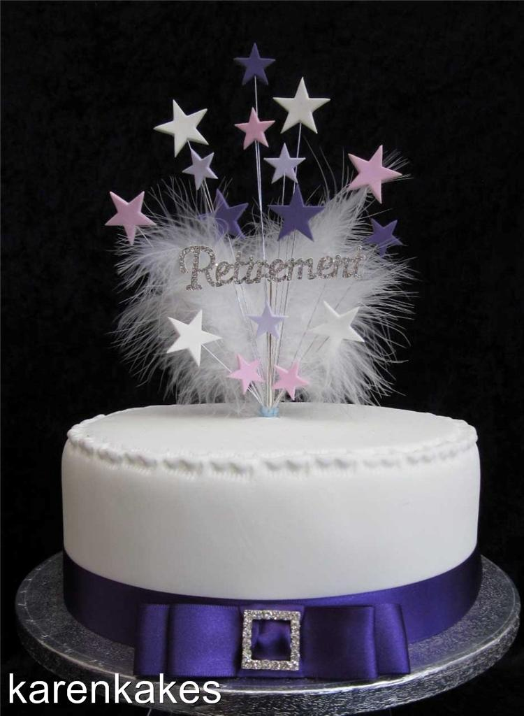DIAMANTE RETIREMENT CAKE TOPPER BLUE/WHITE OR PINK/LILAC ...