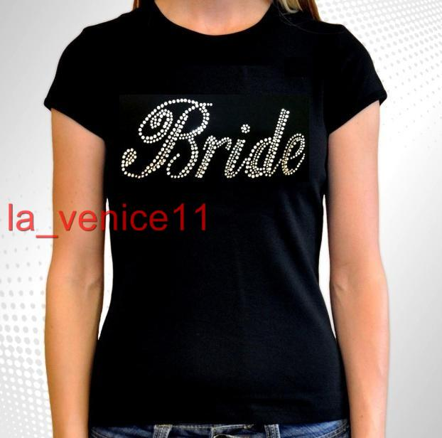 ... -New-Rhinestone-BRIDE-Juniors-Black-T-Shirt-Wedding-Bridal-Gift-S-3XL