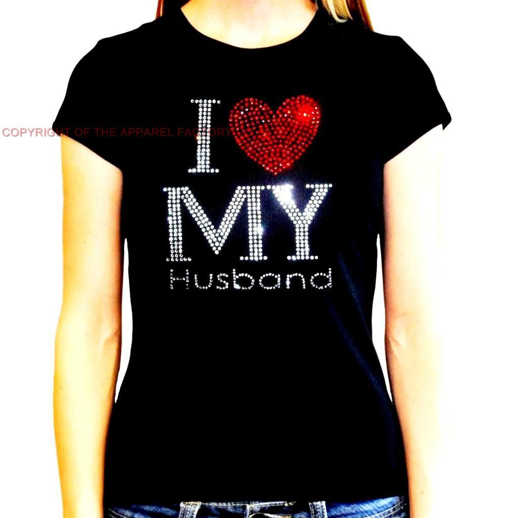 new juniors rhinestone i love my husband t shirt hubby
