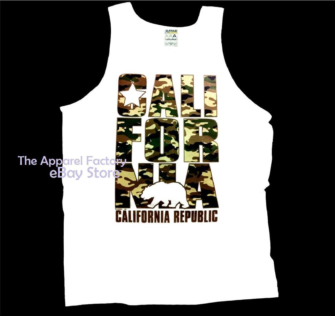 New Cali Tank Top shirt California Republic Men/'s T-shirts