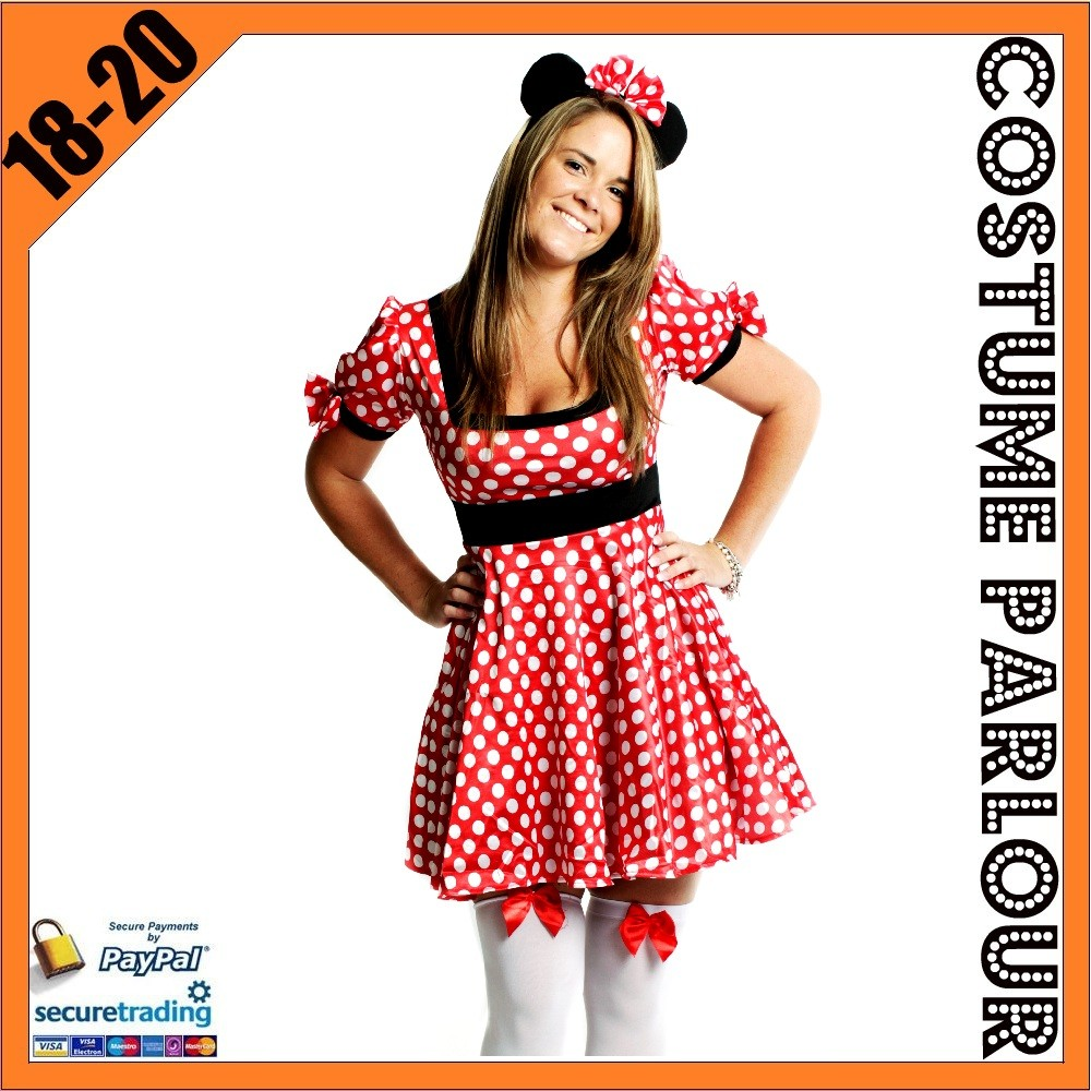 Womens Minnie Mouse Disney Ladies Fancy Dress Costume Sizes 6 - 20 ...
