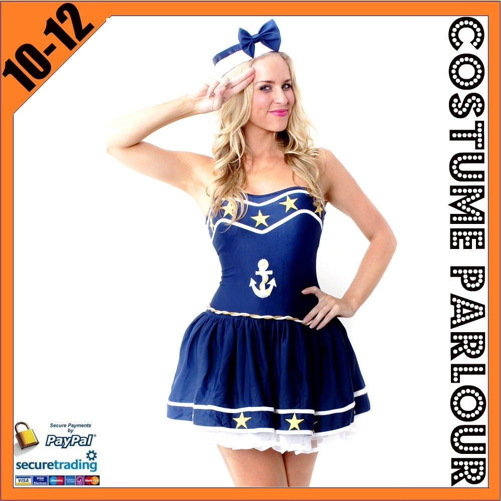 Womens-Star-Sailor-Navy-Pirate-Mariner-Ladies-Fancy-Dress-Costume-Size-10-12