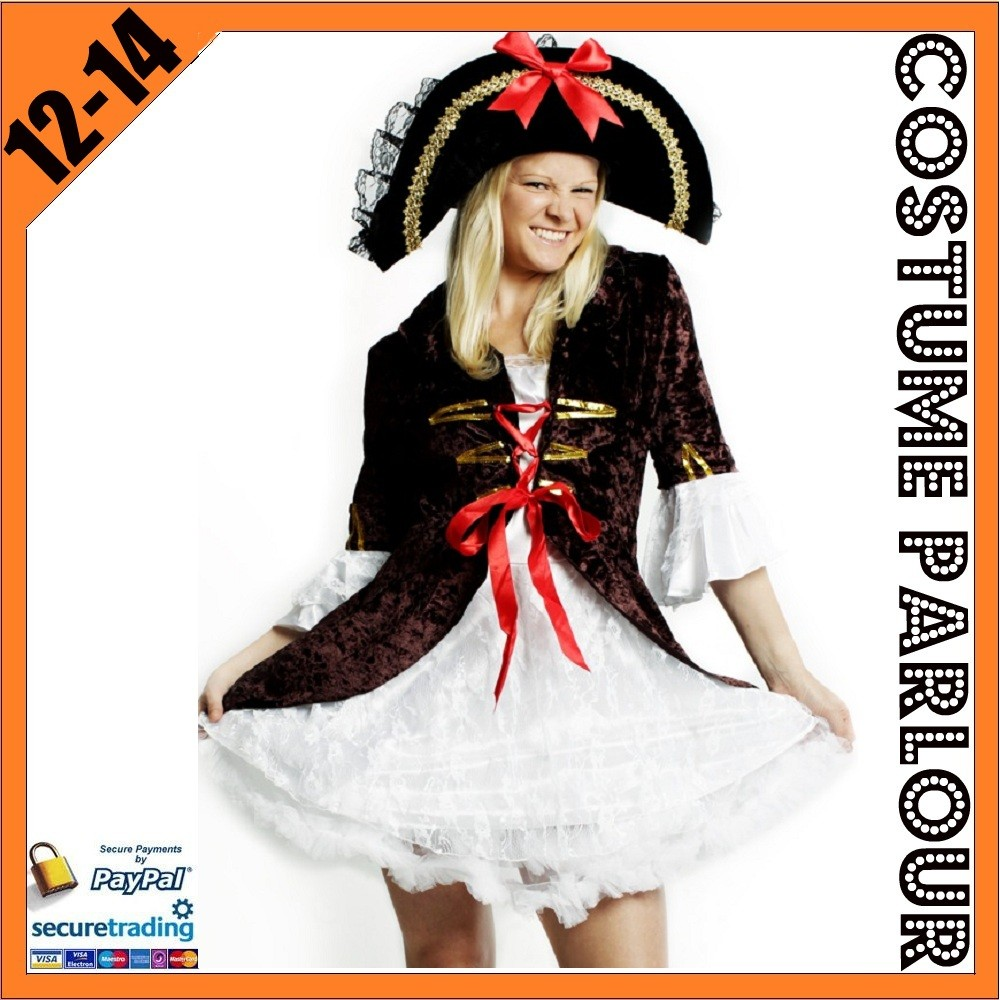 Womens-Brown-Pirate-Wench-Sailor-Ladies-Fancy-Dress-Costume-Size-12-14