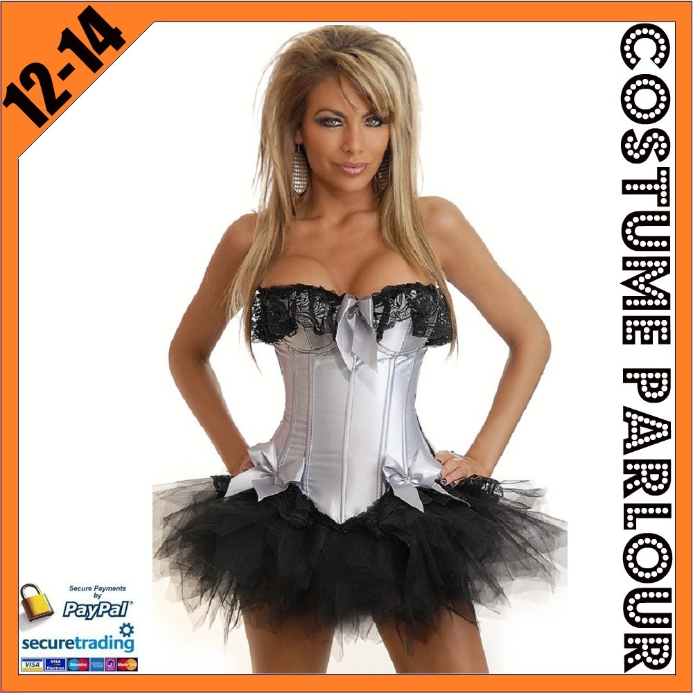 Womens-Silver-Corset-Burlesque-Moulin-Rouge-Fancy-Dress-Costume-Size-12-14