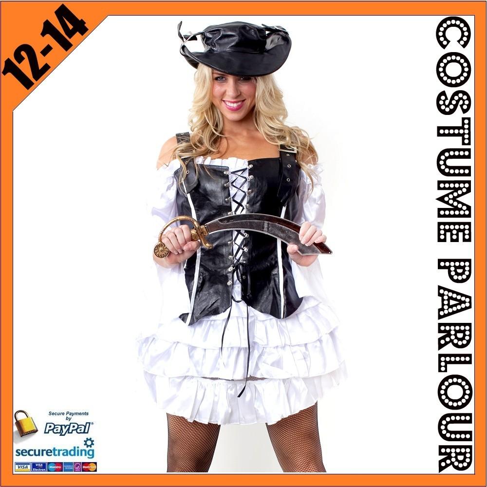 Womens-Black-Leather-Pirate-Bucaneer-Ladies-Fancy-Dress-Costume-Size-12-14