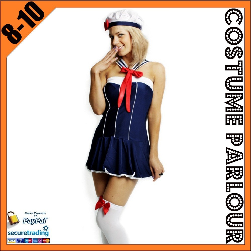Womens-Navy-Sailor-Military-Halloween-Ladies-Fancy-Dress-Costume-Size-8-10
