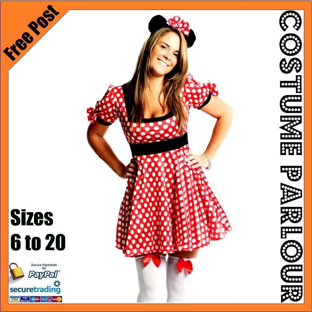 Crysta Glamour Sexy Halloween Womens Minnie Mouse Fancy Dress Costume Outfit S M L - M (Uk Size 10-12