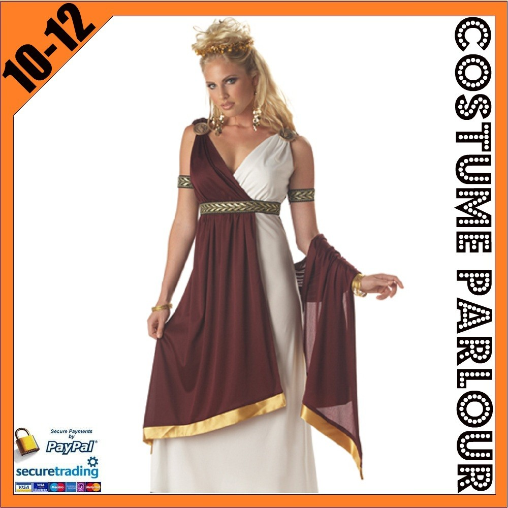 Womens-Greek-Goddess-Athena-Medieval-Ladies-Fancy-Dress-Costume-Size-10-12