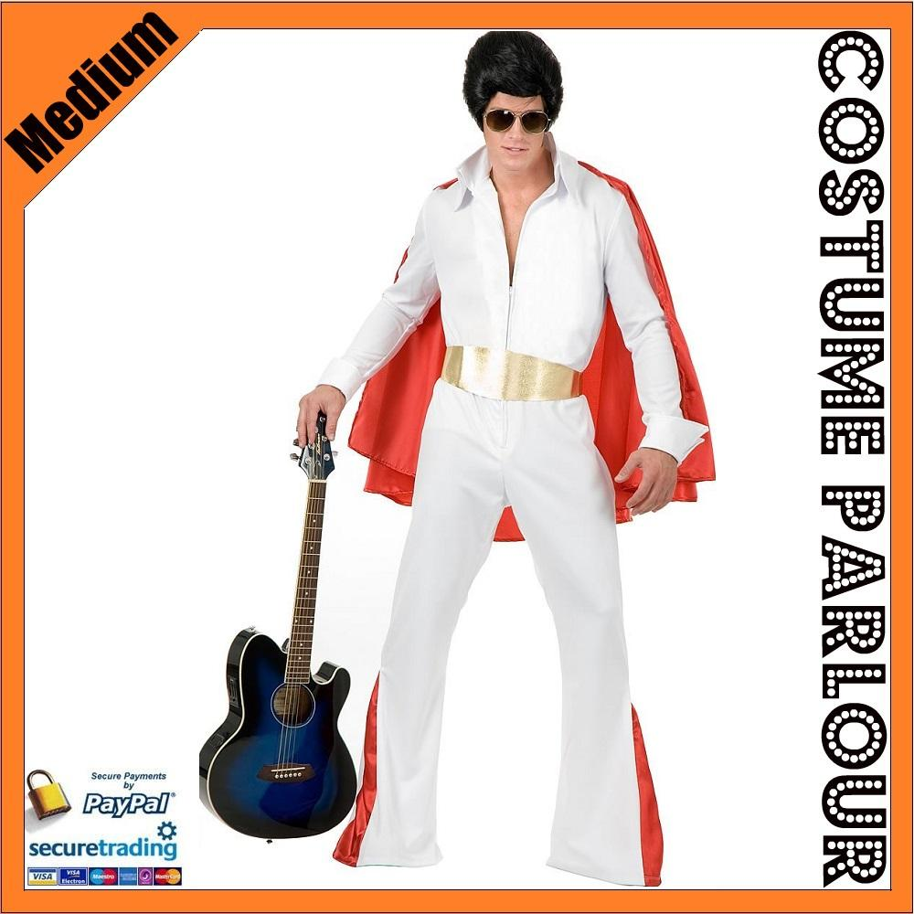 New-Mens-Elvis-Presley-Rock-Roll-Flares-Star-Fancy-Dress-Costume-Size-Medium