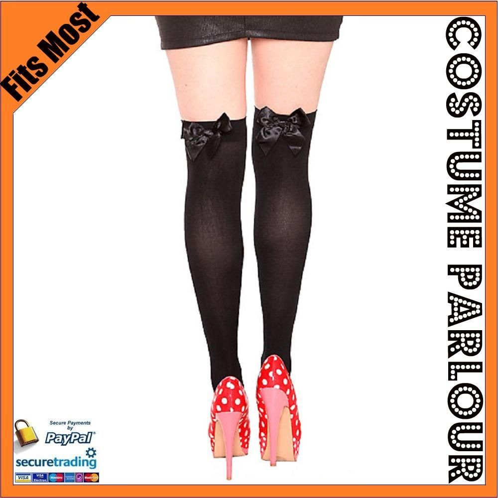 Womens-Ladies-Sexy-Black-Knee-High-Stockings-Socks-Pantyhose-with-Black-Bows