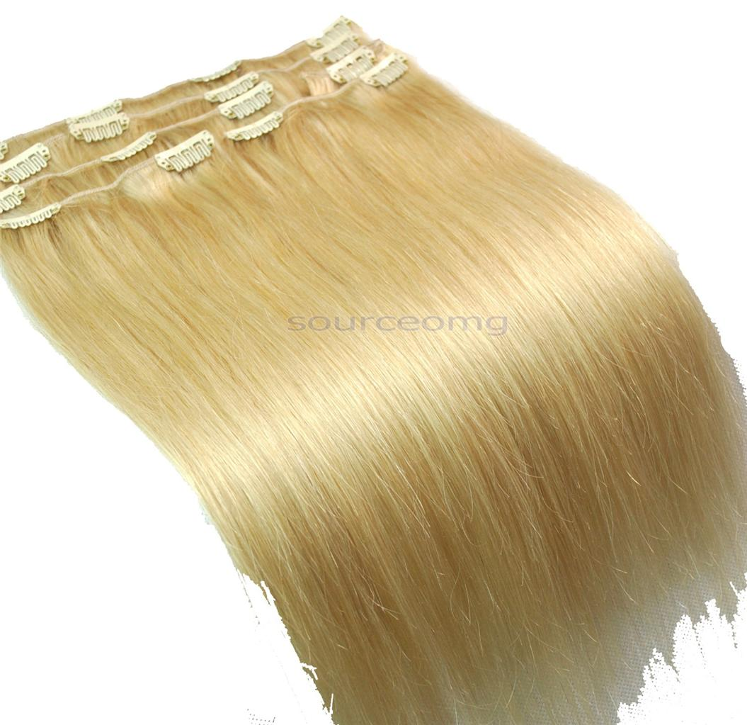 14-70g-Clip-in-on-human-hair-extensions-bleach-blonde-613-FULL-HEAD