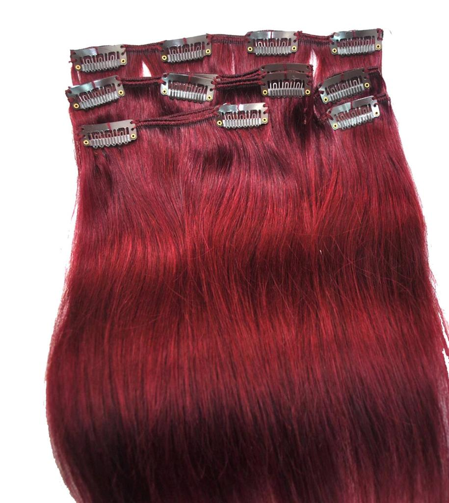 Deep Red Clip In Hair Extensions 24