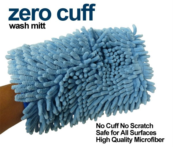 zero cuff extra soft blue chenille microfiber auto car wash mitt autofiber ebay. Black Bedroom Furniture Sets. Home Design Ideas