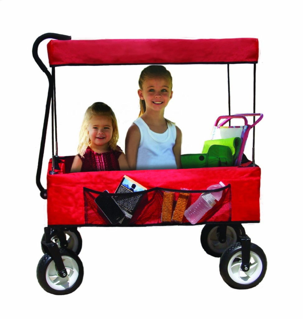 red fold it and go kid safe folding portable wagon uvf sun block canopy top ebay. Black Bedroom Furniture Sets. Home Design Ideas