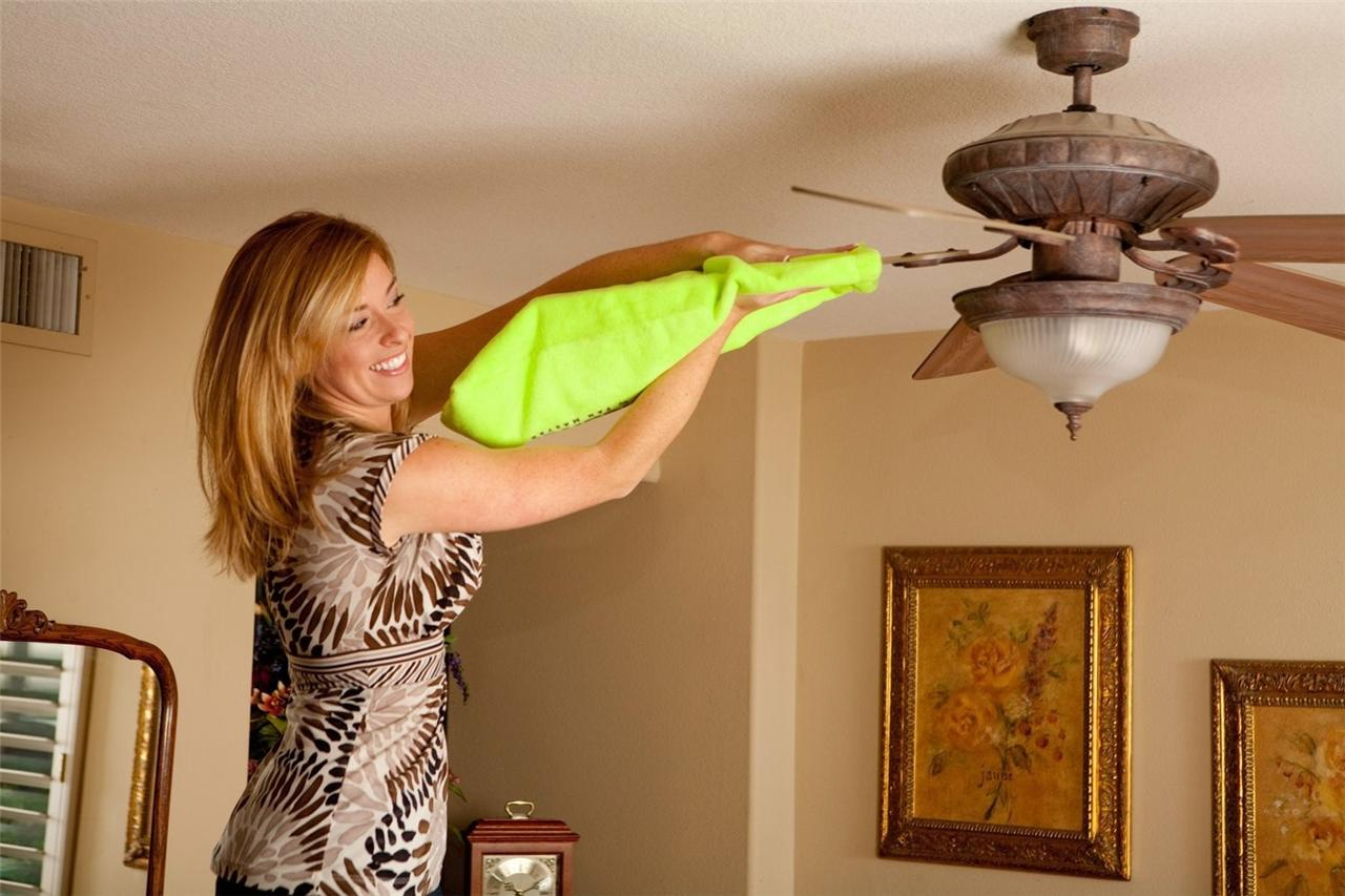 Fanblade Cleaner Green Microfiber Sleeve Cleans Ceiling