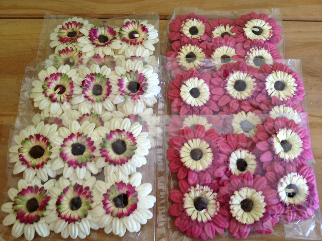 6 Packets Gerbera Daisy Heads Large Paper Flowers On Wire Stems Pink ...