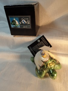 Kurt Adler JTTW Glass Turtle Christmas Ornament Coming Out of My Shell