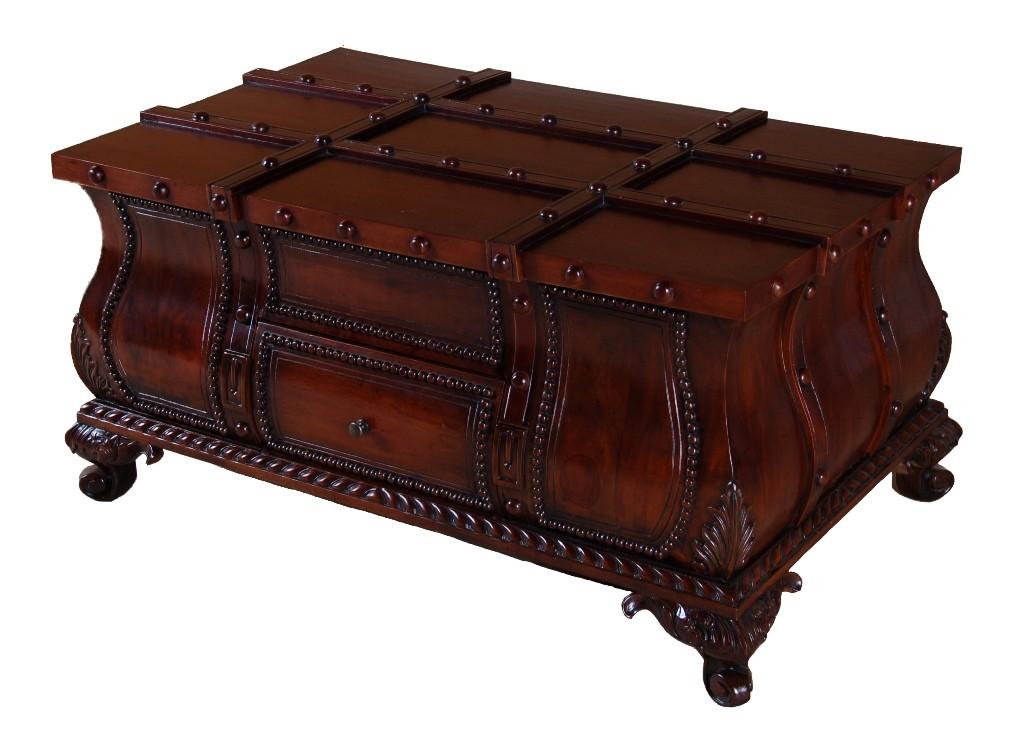 mahogany french coffee table storage trunk belt box ebay. Black Bedroom Furniture Sets. Home Design Ideas