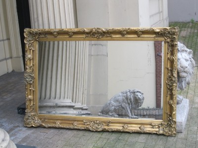 Antique gold big large ornate rococo chunky mirror 5ft ebay for 6 foot floor mirror