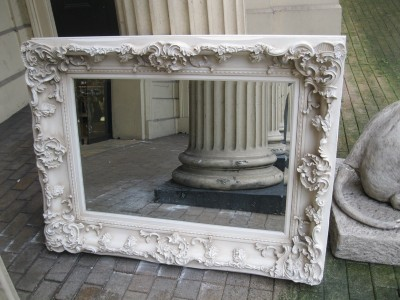 Antique white cream ornate large huge french bevelled chunky mirror 4