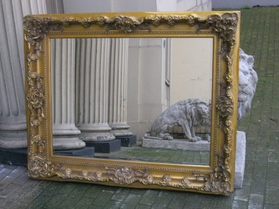 Antique gold ornate large huge french bevelled chunky for 7 foot mirror