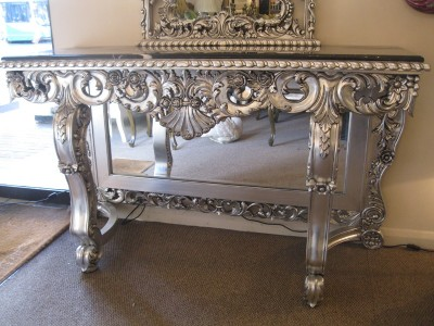 Silver leaf ornate rococo hall black marble mirror mirrored base console table ebay - Ornate hall table ...