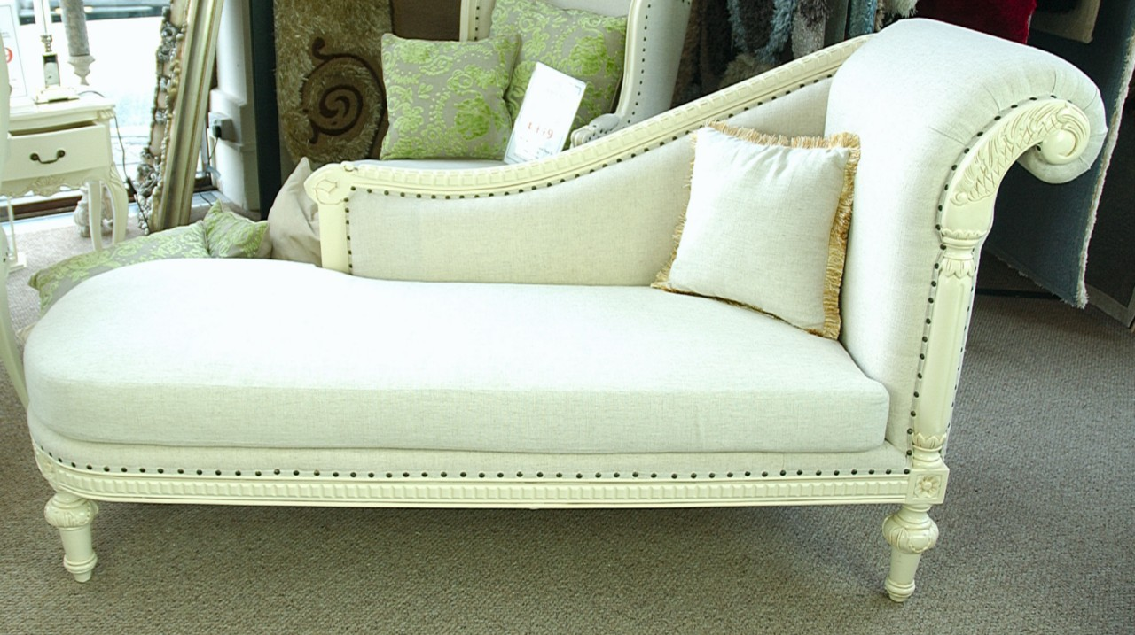 stone ornate french shabby chic linen antique white chaise longue sofa ebay. Black Bedroom Furniture Sets. Home Design Ideas