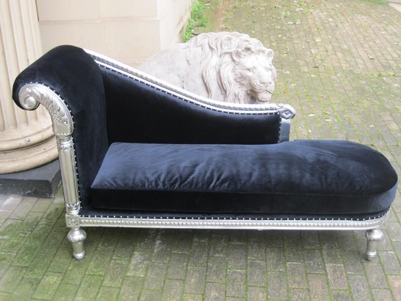 Mahogany ornate french shabby chic silver leaf black for Black velvet chaise longue