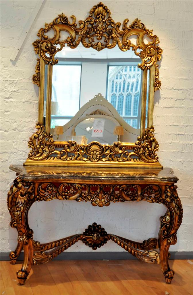 SOLID MAHOGANY OLD ANTIQUE GOLD FRENCH MARBLE ORNATE