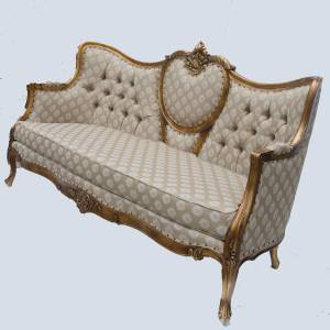 Ornate french ornate boudoir antique gold gilt leaf large for Antique chaise longue ebay