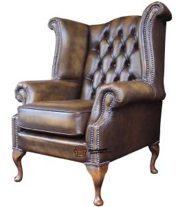 armchair queen anne high back fireside wing chair gold leather ebay