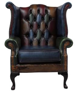 Chesterfield Queen Anne Armchair Antique Patchwork Leather High Back EBay
